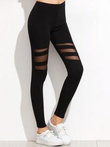 Leggins Spandex negros Color liso estilo informal con diseño hueco