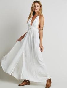 Vestido Maxi branco Halter V pescoço vestido sem mangas sem encosto longo com franja
