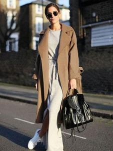الصوف المعاطف الشتوية المرأة الجمل كم طويل المتضخم التفاف معطف