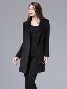 Vestito collo cappotto invernale Slim Fit nero donne cappotto di lana manica lunga