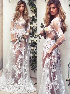 Макси платье белого кружева вокруг шеи иллюзия три четверти длины рукава полу чисто сексуальный платье партии