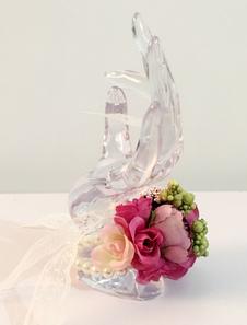 Baile flores buquê casamento pérolas frisado flores de seda laço fita pulseira de Corsage dama de honra