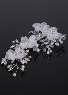 Branco Headpieces pérolas strass flor Clip Headband casamento noivas