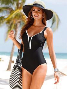 Bañadores mujer Traje de baño entero de poliéster con tirantes con rebete Color liso estilo de playa