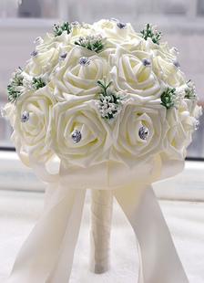 Branco casamento Bouquet Flores strass frisado fitas redondo ramalhete nupcial de forma