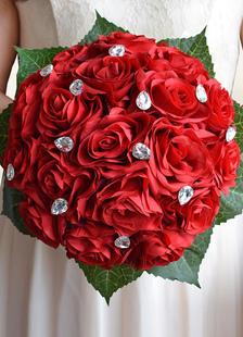 الزفاف باقة الزهور الحمراء الراين أشرطة القوس اليد تعادل الحرير الزهور باقة الزفاف