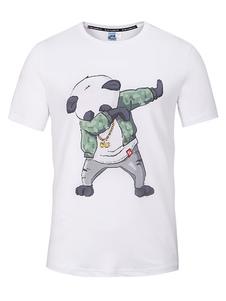 Camiseta blanca de manga corta con estampado de panda de manga corta con cuello redondo de hombre
