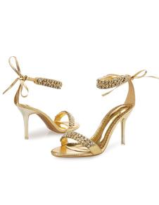Vestido 2020 de ouro Sandálias 2020 de Salto Alto Rhinestone Frisada Tira No Tornozelo Sandália Sapatos Mulheres Sapatos de Noite