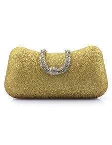 Свадьба сцепления мешки Золото блестками стразами цветочные печати подушку формы для новобрачных Вечерние сумки с съемной цепочкой