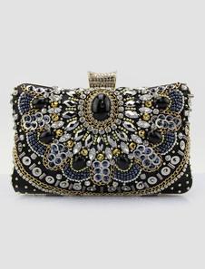 Bolsa de noiva de cetim com Kiss Lock em quadrado horizontal elegante & luxuriosa com grânulos com desenho artístico preta Pequena