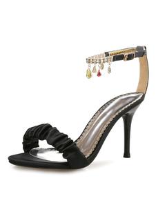 Pedrería vestido negro sandalias del alto talón Womens tobillo correa zapatos de la sandalia de tacón de aguja de cuentas