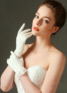 Белые перчатки короткие кружева пальцев перчатки свадьбы свадебный