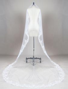 كاتدرائية الزفاف الحجاب الأبيض البيضاوي الرباط زين حافة الطبقة الأولى تول الحجاب الزفاف