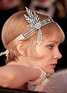 Винтаж Свадебные головные украшения 1920s заслонки оголовье серебро жемчуг бисером свадебные аксессуары волос