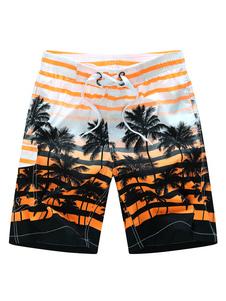 Shorts de baño para hombre Shorts de traje de baño amarillos con árboles de cocoanut Shorts de verano hawaianos con cintura estampada