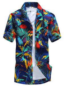 Синяя повседневная рубашка с коротким рукавом с принтом в виде листьев