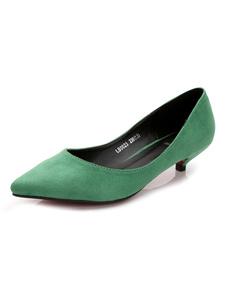 Зеленые котенки на каблуках натолкнули пальцы на насосы для женщин