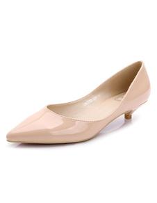 Остроконечные Toe насосы Женская обнаженная патентных пу котенка пятки скольжения на насос обувь