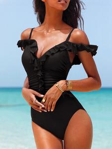 Один кусок Купальники Черный Раффлед сексуальный берег лямки купание костюмы