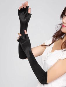 Черной стрейч пальцев длинные перчатки для женщин