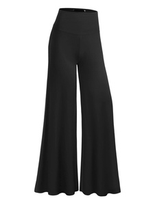 High Rise cotone nero pantaloni donna arruffato Pantalone gamba larga elastica