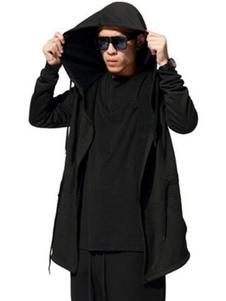 الرجال معطف مقنع المتضخم الأسود الرباط كم طويل معطف الخريف