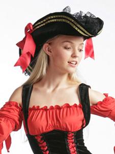 Acessórios de boné preto do traje do pirata sensual para mulheres Halloween