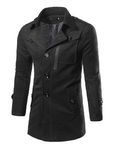 Negro Collar cobertura manga larga botón capa ocasional guisante capa hombres