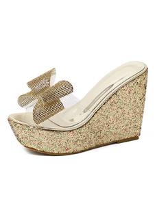 Sapatos de cunha dourada Peep Toe arco Decor transparente superior sandália chinelos feminino