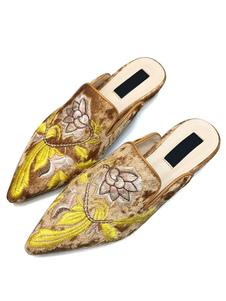 ミュール サンダル マイクロスエード ブラウン  ポインテッドトゥ 1.5cm フラットヒール シューズ 刺繍 スリップオン カジュアル シック&モダン レディース靴