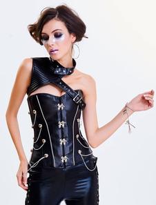 Costume Carnevale Corsetto nero di poliestere in vernice con rivetti asimmetrico smanicato con stringa donna