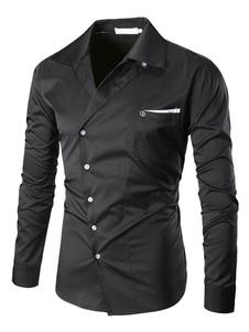 Camisa 2020 Preta Dos Homens De Abertura De Cama Colarinho De Manga Comprida Tamanho Normal Casual Shirt