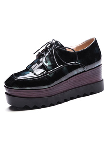 Zapatos de Oxford de puntera redonda de tacón gordo para mujer estilo street wear Color liso Invierno AZ0Z8w