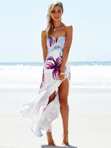 Vestido comprido para praia sem mangas De poliéster Em estilo boémio sem costas