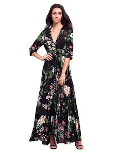 Vestido largo negro  Moda Mujer con 3/4 manga de algodón mezclado Vestidos con abertura con cuello en V estilo bohemio Verano