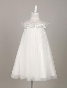 Vestido de Menina das Flores Boho Tulle Lace Illusion A Line Vestido Balanço para criança