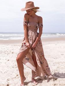 الشيفون ماكسي لباس المرأة قبالة الكتف كم قصير السامية الشق الأزهار المطبوعة فستان طويل 2020