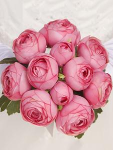 Flores de casamento de flor de seda Redondo Acessórios não inclusos. bordeaux