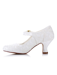 العاج أحذية الزفاف الدانتيل جولة تو هريرة كعب ماري جين أحذية الزفاف
