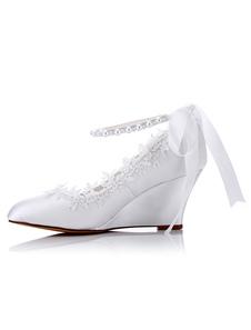 Sapatos de casamento branco cetim dedo apontado strass laço frisado acima cunhas nupciais