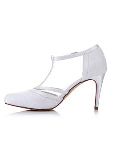 Pointed Toe tacco alto bianco T tipo con fibbia scarpe da sposa scarpe da sposa in pizzo