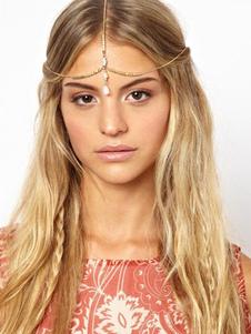 Лоб Boho тройной золотой головы цепи цепи женские аксессуары для волос