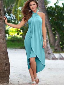 Синий летнее платье женщин Холтер разделить высокой низкой макси платье