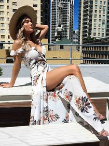 Богемная макси платье шифон V шею рябить короткие цветочные печатных щели летнее платье
