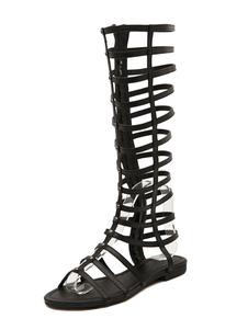 Com zíper sandálias gladiador dourado de feminino grande bezerro sandália sapatos