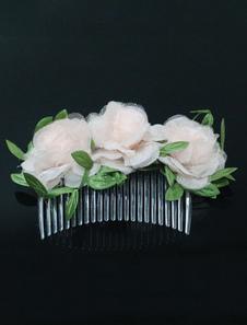 Pente de acessórios de cabelo nupcial champanhe Headpieces flores do casamento