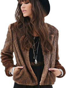 Inverno casaco fofo peles artificiais jaqueta marrom manga longa feminino