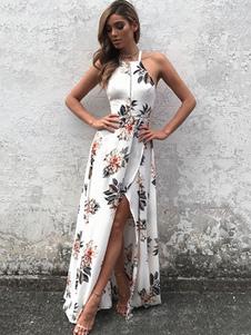 Vestido Maxi Branco Halter Sem Mangas Backless Floral Impresso Slit Vestido Longo De Verão Para As Mulheres