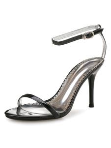 Sandali tacco alto nero Open Toe due parte caviglia Strap sandalo scarpe