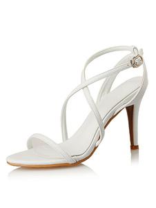 Sandalias de puntera abierta Color liso para pasar por la noche de tacón de stiletto estilo moderno Sandalias para mujer